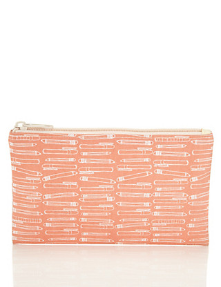 Boutique Pink Illustrated Pencil Case Home