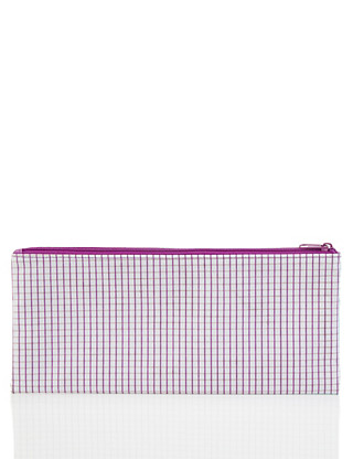 Large Contrasting Purple Gingham Pencil Case Home