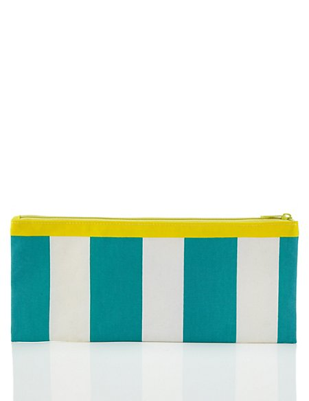 Contemporary Text Large Striped Turquoise Pencil Case
