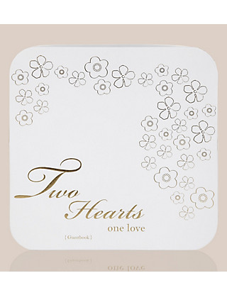 Two Hearts One Love Collection Wedding Guest Book with Matching Keepsake Box Home