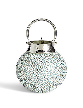 Beaded Small Glass & Metal Lantern
