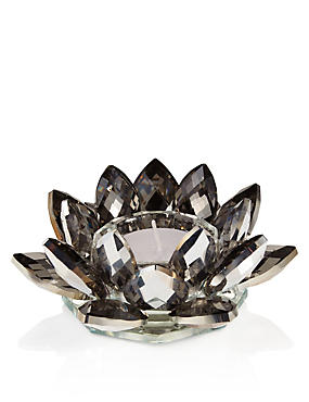 Cut Glass Floral Tea Light Holder