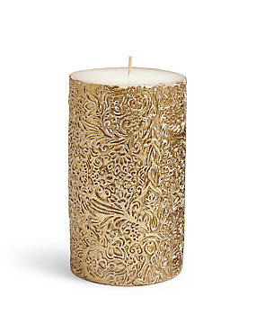 Medium Flora Metallic Pillar Candle