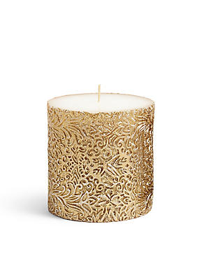 Short Flora Metallic Pillar Candle