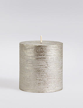 Short Rustic Metallic Pillar Candle