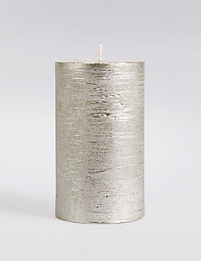Medium Rustic Metallic Pillar Candle