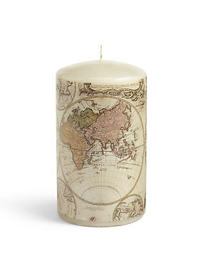 Medium Map Pillar Candle