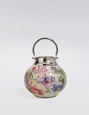 Floral Small Glass & Metal Lantern