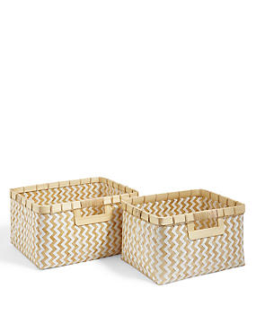 Handwoven Bamboo Set of 2 Baskets