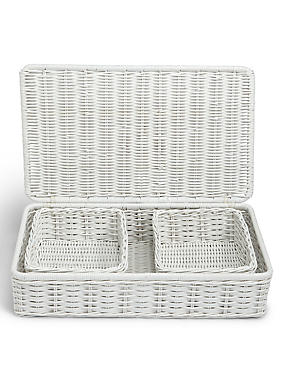 Rattan Set of 3 Under Bed Storage