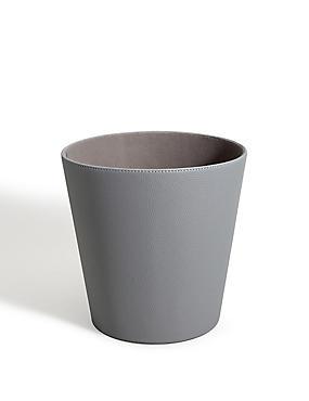 Faux leather waste bin for Grey bathroom bin