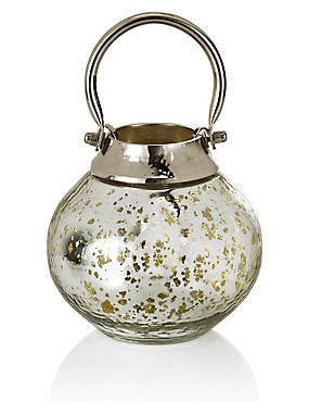 Mercury Glass & Metal Lantern