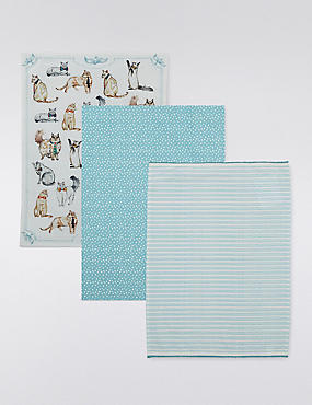 3 Assorted Print Tea Towels
