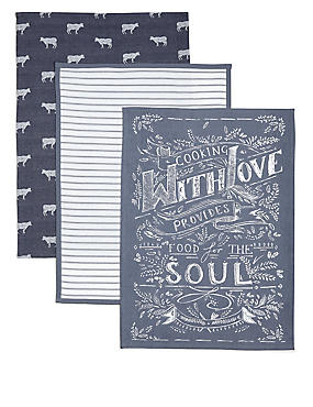 3 Pack Tea Towel Cooking with Love