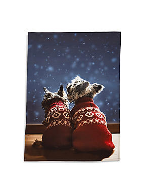 Pure Cotton Westie & Friend Tea Towel