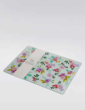 Floral Glass Work Top Saver Chopping Board