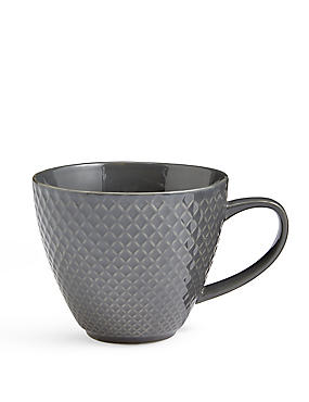 Textured Diamond Charcoal Mug