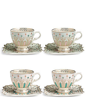 Hollywood Deco Set of 4 Cups & Saucers