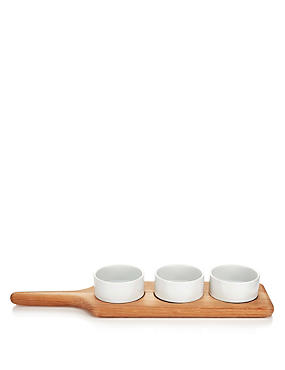 Large Wood Paddle Chip & Dip Set