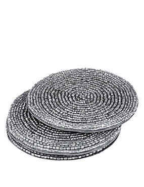 4 Pack Round Beaded Coaster