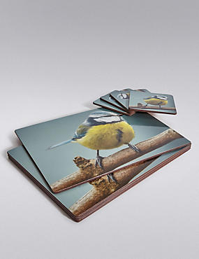 4 Garden Bird Cork Placemats & Coasters Set