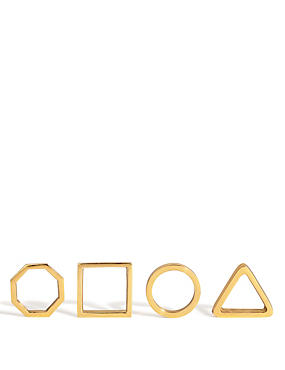 4 Geometric Metal Napkin Rings
