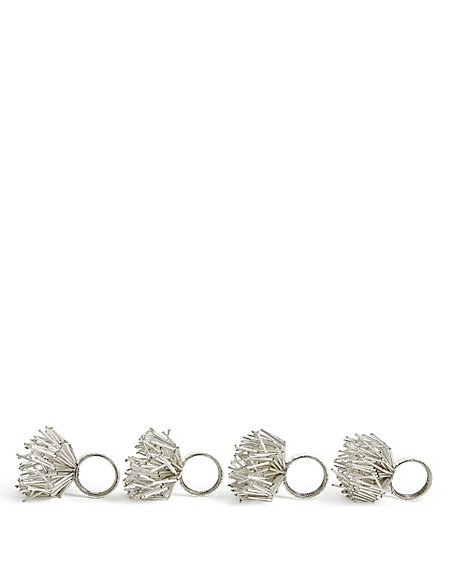 4 Pack Beaded Sprig Napkin Rings
