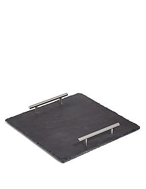 Slate Square Platter with Handles