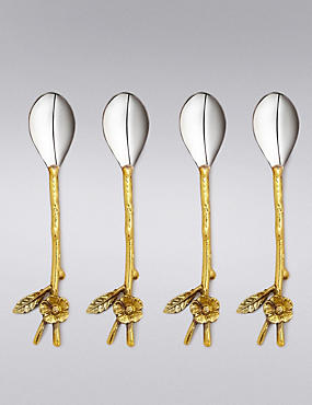 4 Spring Bloom Floral Spoons