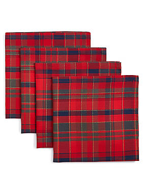 4 Pack Cotton Rich Tartan Napkin Set