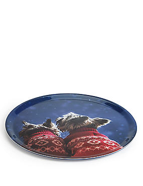 Westie Dog & Friend Round Tray