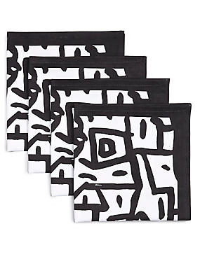 4 Pack Sue Graffiti Print Napkins