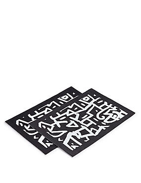 2 Pack Sue Graffiti Print Placemat