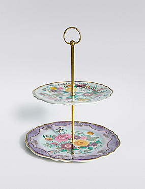 Spring Blooms Melamine 2-Tier Cake Stand