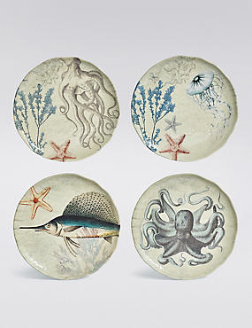 Set Of 4 Nautical Melamine Side Plates