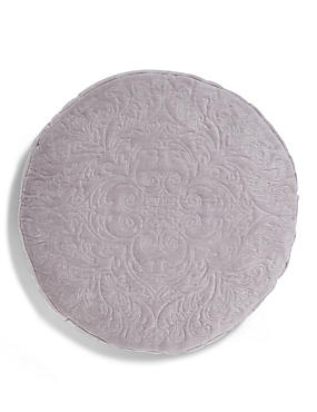 Round Damask Embroidered Cushion
