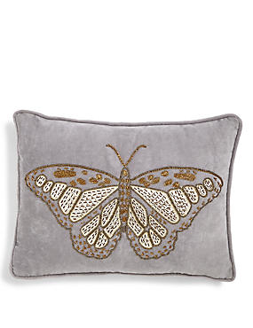 Butterfly Beaded Embroidered Cushion
