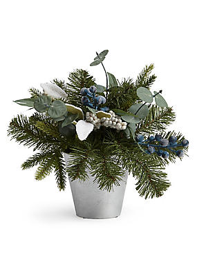 Leafy Grey Berry Table Centre