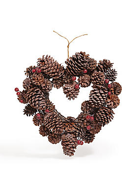 15in Heart Pinecone Wreath
