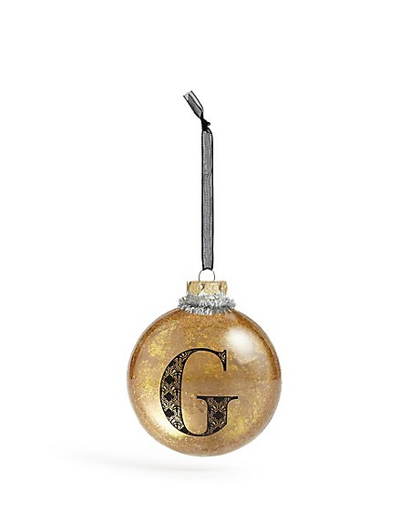 Glass Letter G Bauble