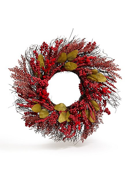 20in Red Natural Wreath
