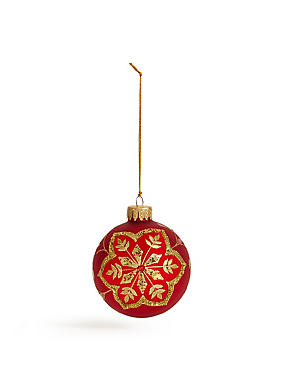 Red Gold Snowflake Bauble