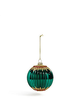 Green Glitter Zigzag Bauble