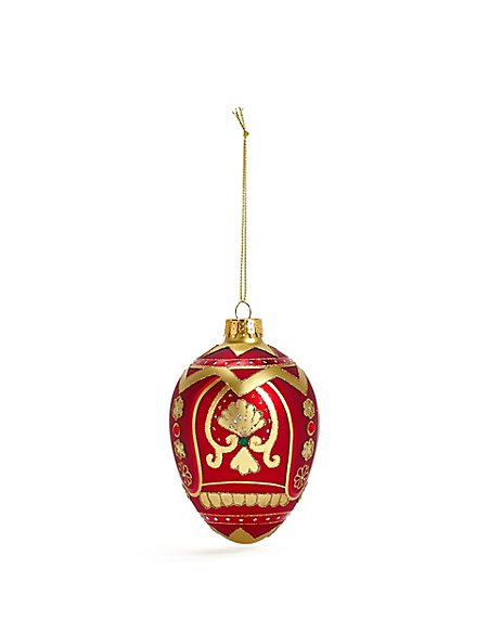 Red Jewelled Egg Bauble