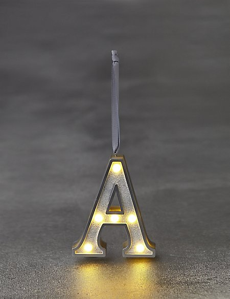 White Letter A LED Bauble