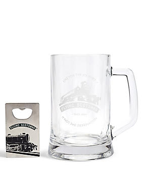 Flying Scotsman Glass Tankard & Bottle Opener