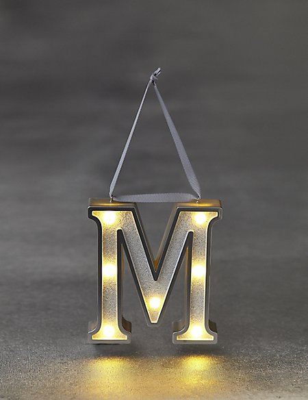White Letter M LED Bauble