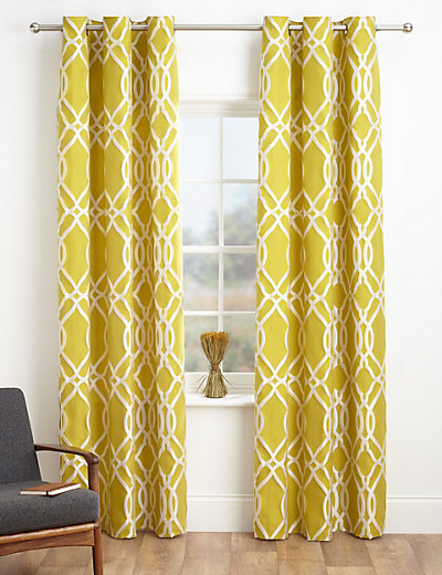 Geometric Jacquard Eyelet Curtains MampS