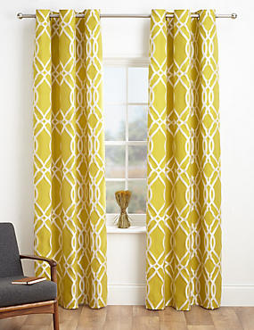 geometric jacquard eyelet curtains - Patterned Curtains