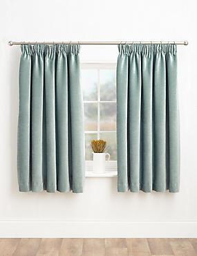 Chenille Pencil Pleat Curtains, DUCK EGG, catlanding
